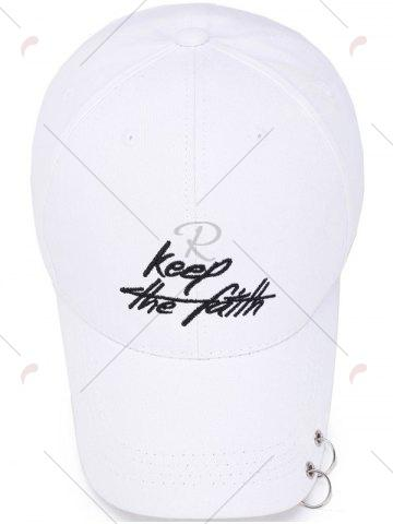 Latest Letters Embroidery Double Metal Circle Baseball Cap - WHITE  Mobile