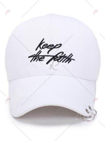 Online Letters Embroidery Double Metal Circle Baseball Cap - WHITE  Mobile
