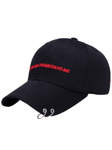 Fashion Letters Embroidered Double Circles Baseball Hat - BLACK  Mobile