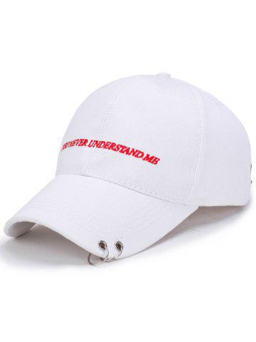 Outfits Letters Embroidered Double Circles Baseball Hat - WHITE  Mobile