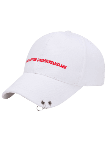 Shops Letters Embroidered Double Circles Baseball Hat - WHITE  Mobile