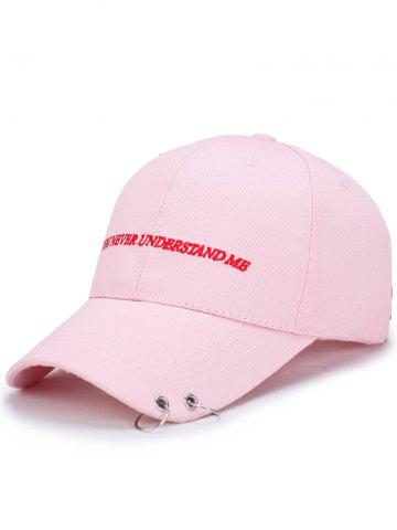 Fancy Letters Embroidered Double Circles Baseball Hat PINK