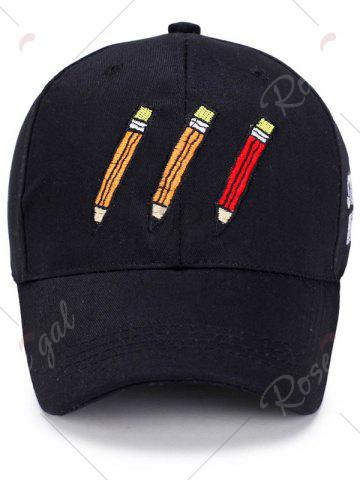 Shops Pencil Letters Embroidered Baseball Cap - BLACK  Mobile