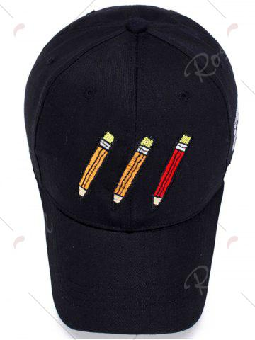 Outfit Pencil Letters Embroidered Baseball Cap - BLACK  Mobile