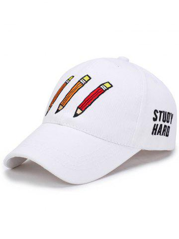 Pencil Letters Embroidered Baseball Cap - White - One Size