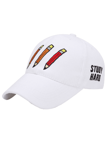 Discount Pencil Letters Embroidered Baseball Cap - WHITE  Mobile