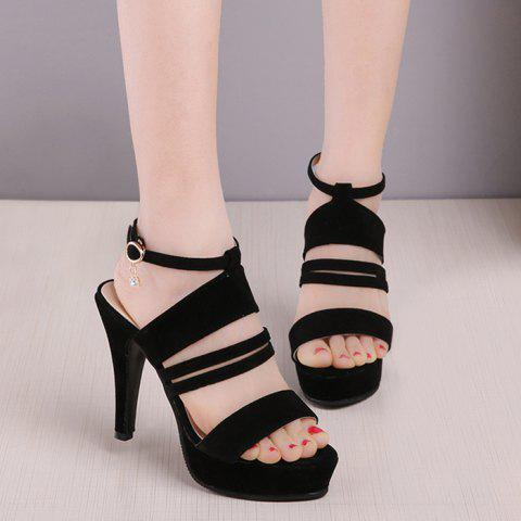 Online Strappy Super High Heel Platform Sandals - 38 BLACK Mobile