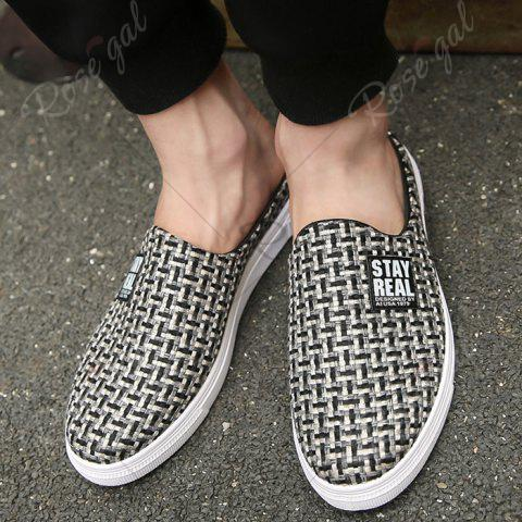 Latest Letter Printed Gien Check Pattern Casual Shoes - 40 BLACK Mobile