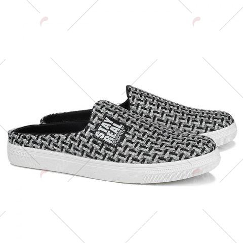 Store Letter Printed Gien Check Pattern Casual Shoes - 40 BLACK Mobile