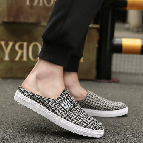 Online Letter Printed Gien Check Pattern Casual Shoes - 40 BLACK Mobile