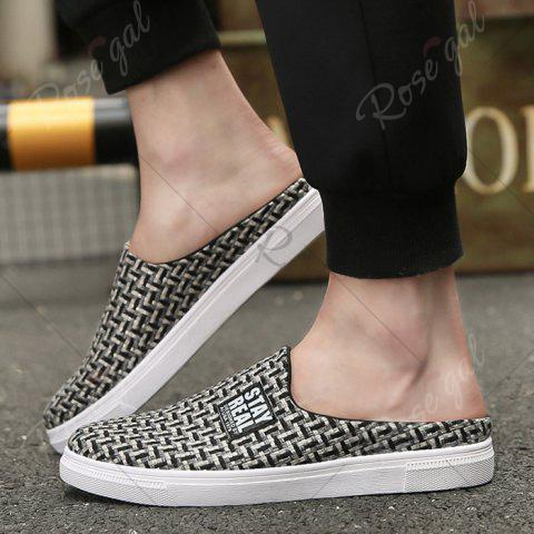 Affordable Letter Printed Gien Check Pattern Casual Shoes - 40 BLACK Mobile