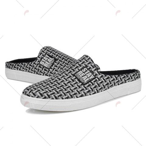 Fancy Letter Printed Gien Check Pattern Casual Shoes - 40 BLACK Mobile