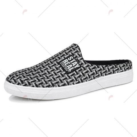 Cheap Letter Printed Gien Check Pattern Casual Shoes - 40 BLACK Mobile