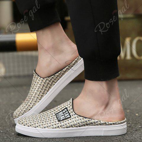 Online Letter Printed Gien Check Pattern Casual Shoes - 43 PALOMINO Mobile