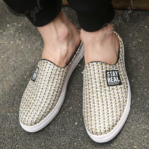 Sale Letter Printed Gien Check Pattern Casual Shoes - 43 PALOMINO Mobile