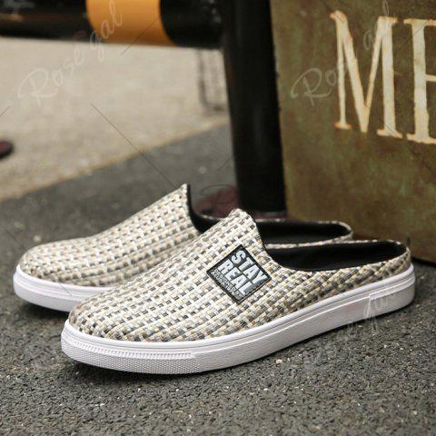 Discount Letter Printed Gien Check Pattern Casual Shoes - 43 PALOMINO Mobile