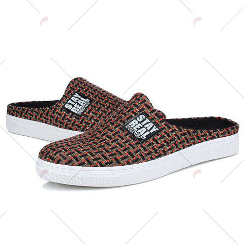 Outfit Letter Printed Gien Check Pattern Casual Shoes - 43 RED Mobile