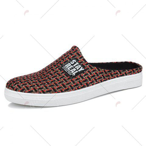 Latest Letter Printed Gien Check Pattern Casual Shoes - 43 RED Mobile
