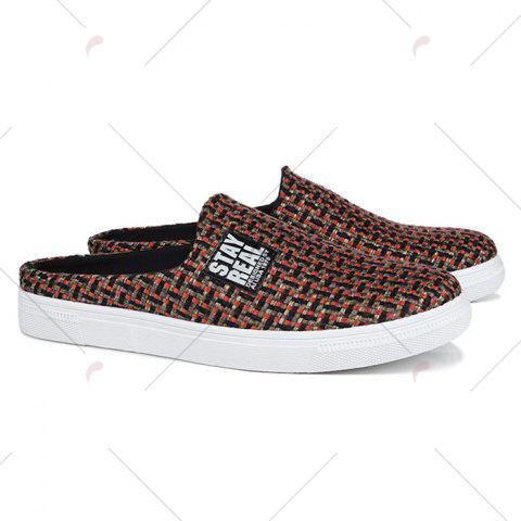 Online Letter Printed Gien Check Pattern Casual Shoes - 43 RED Mobile