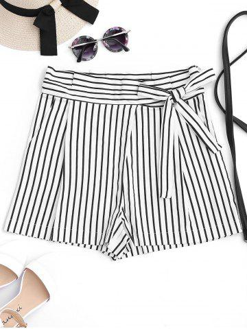 Best Bowknot Stripe High Waisted Shorts - M STRIPE Mobile