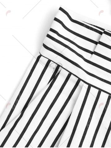 Sale Bowknot Stripe High Waisted Shorts - M STRIPE Mobile