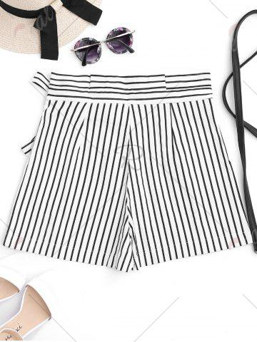 Shops Bowknot Stripe High Waisted Shorts - M STRIPE Mobile