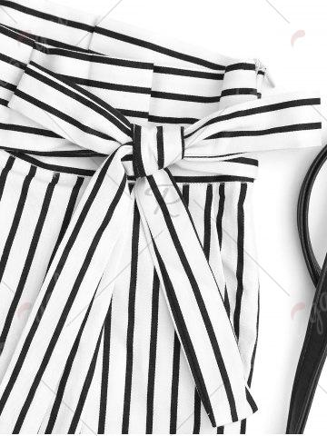 Store Bowknot Stripe High Waisted Shorts - L STRIPE Mobile