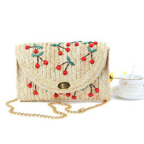 Fancy Fruit Embroidery Straw Crossbody Bag RED