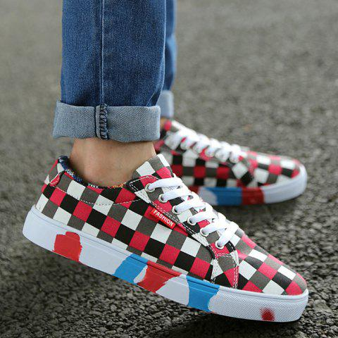 Buy Color Block Tie Up Canvas Shoes RED 43