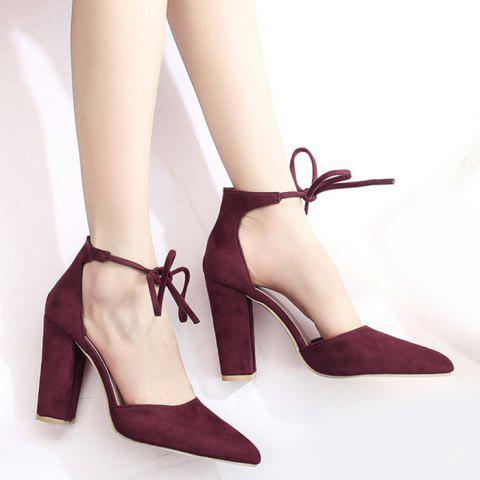 Outfit Ankle Lace Chunky Heel Pointed Toe Pumps BURGUNDY 37