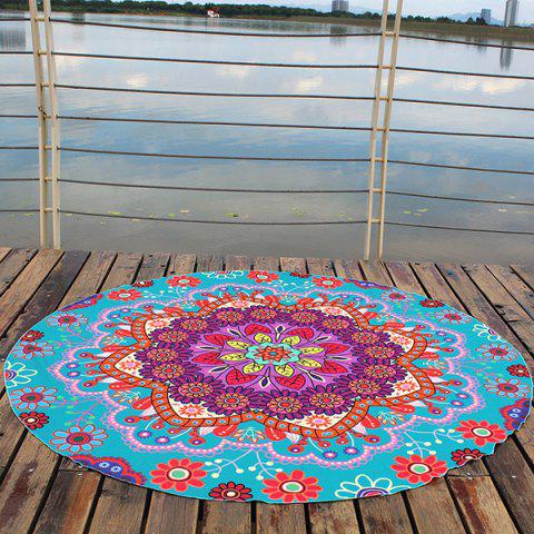 Outfits Floral Printed Bohemian Round Beach Throw - CYAN  Mobile