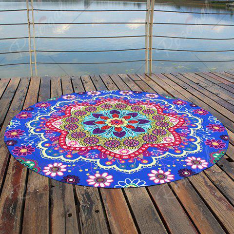 Outfits Floral Printed Bohemian Round Beach Throw - ROYAL  Mobile