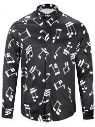 Long Sleeve Musical Note Print Shirt - BLACK