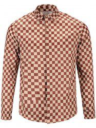 Long Sleeve Cover Placket Vintage Checked Shirt