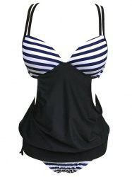 Striped Cross Back Blouson Tankini Set