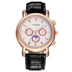 OUKESHI Number Faux Leather Strap Analog Watch - BLACK