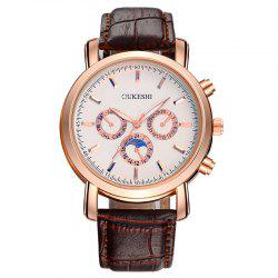 OUKESHI Number Faux Leather Strap Analog Watch - BROWN