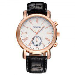 OUKESHI Roman Numeral Faux Leather Strap Formal Watch - BLACK