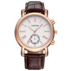 OUKESHI Roman Numeral Faux Leather Strap Formal Watch - BROWN