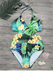 Tropical Floral Plus Size Wrap Swimsuit -