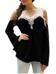 Cold Shoulder Lace Panel Color Block T-Shirt with Long Sleeve