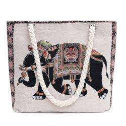 Print Canvas Beach Bag - BLACK