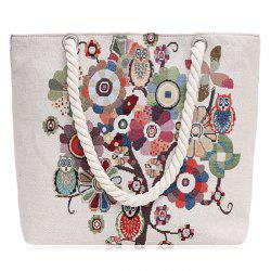 Print Canvas Beach Bag - WHITE
