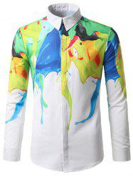 Hidden Button Abstract Paint Print Shirt
