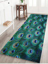 Peacock Feather Coral Fleece Antislip Bath Rug