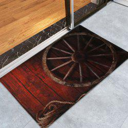Retro Wheel Water Absorption Coral Toison Tapis de bain - Brun-rouge