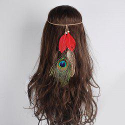 Peacock Feather Indian Charm Headwear - RED
