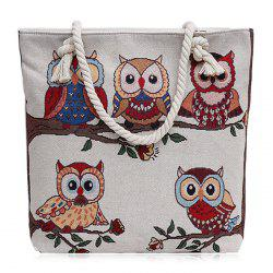 Twist Rope Owl Jacquard Beach Bag - Blanc Crème