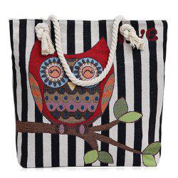 Twist Rope Owl Jacquard Beach Bag - BLACK