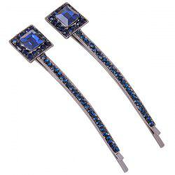 1 Pair Square Fake Sapphire Inlaid Hairpin